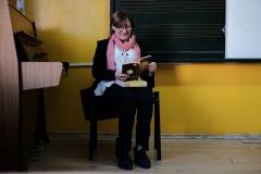 проф.д.р Даниела Андонова от Музикалната академия при учениците от 5 - Б клас